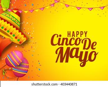 Vector illustration of Cinco De Mayo celebration typography background.