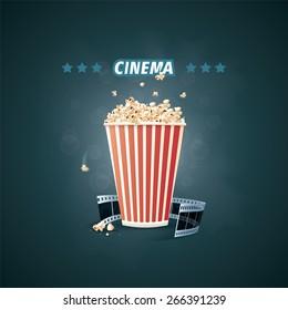 Vector illustration of cinema. Popcorn and cine film.