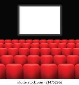 Vector  Illustration with Cinema Screen  and Red Seats on a Dark Background