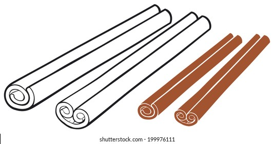 vector illustration of cinnamon sticks