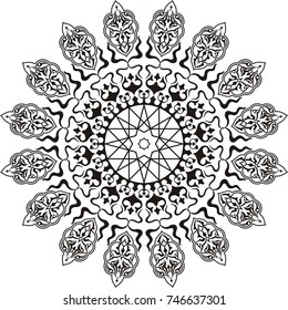 Vector illustration of circle arabic ornament  arabesque. Stencil for decor. Black on white background