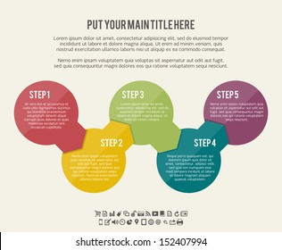 Vector illustration of circle flow chart banner background.