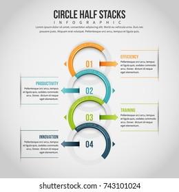 Vector illustration of circle half stacks infographic design element.