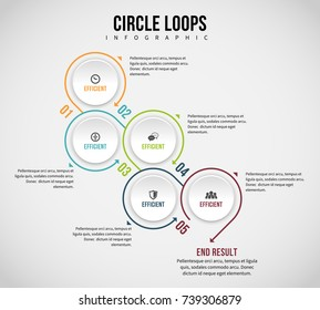 Vector illustration of circle loops infographic design element.