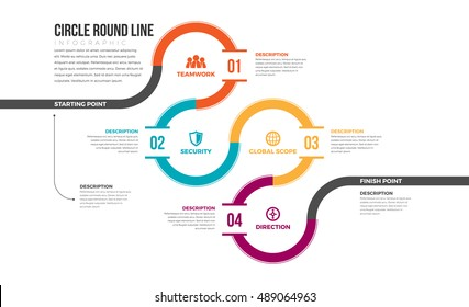 Vector illustration of circle round line infographic design element.