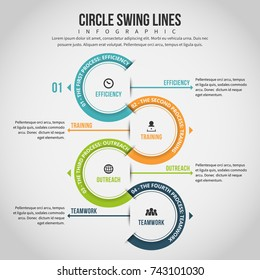 Vector illustration of circle swing lines infographic design element.