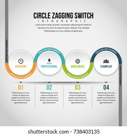 Vector illustration of circle zagging switch infographic design element.