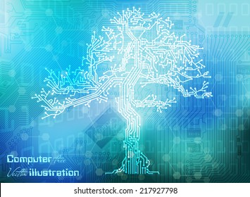 Vector illustration circuit board tree