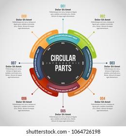 Vector illustration of Circular Parts Infographic design element.