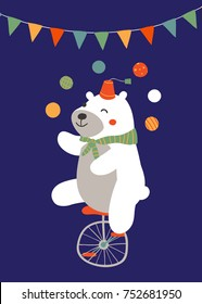 Vector illustration of circus bear riding a unicycle and juggling colorful balls against a dark blue background and buntings