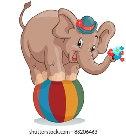 Vector illustration, circus elephant as acrobat, card concept, white background.