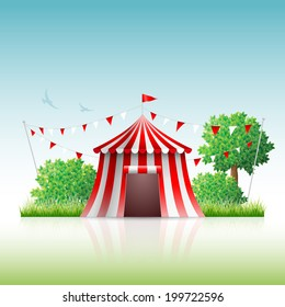 Vector illustration of circus in nature.