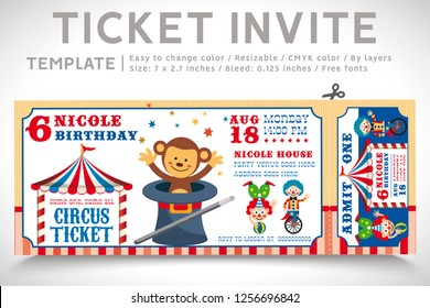 A Vector Illustration Circus Party. Ticket invitation birthday. Clown, Monkey, Lion, Dolphin, Tiger, and balls. Vector 06