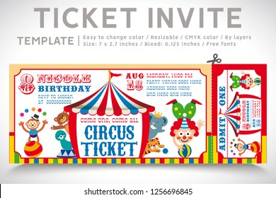 A Vector Illustration Circus Party. Ticket invitation birthday. Clown, Monkey, Lion, Dolphin, Tiger, and balls. Vector 02