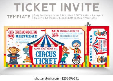 A Vector Illustration Circus Party. Ticket invitation birthday. Clown, Monkey, Lion, Dolphin, Tiger, and balls. Vector 05