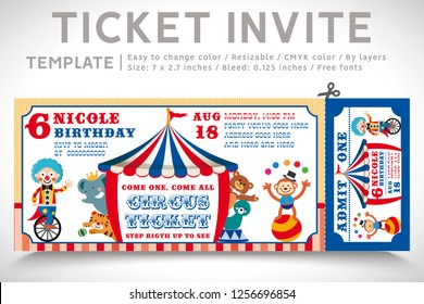 A Vector Illustration Circus Party. Ticket invitation birthday. Clown, Monkey, Lion, Dolphin, Tiger, and balls. Vector 01