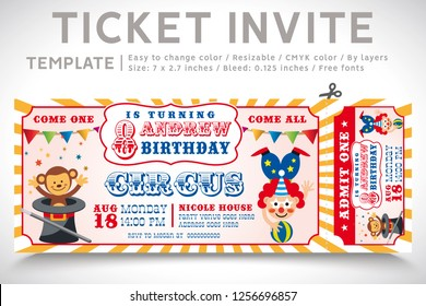 A Vector Illustration Circus Party. Ticket invitation birthday. Clown, Monkey, Lion, Dolphin, Tiger, and balls. Vector 10