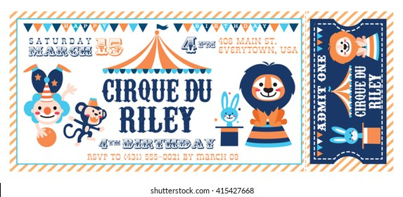 A Vector Illustration Circus Party. Ticket invitation birthday. Clown, monkey, bunny and lion.