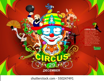 Vector illustration of the circus. Circus poster. Cartoon Poster Invite. Kids game Birthday Party Amusement Park, events and entertainment