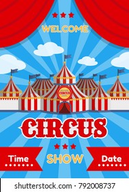 Vector illustration of a circus poster with tents.