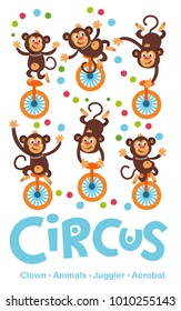 A Vector Illustration Circus Show. Party invitation with circus theme. Animals, juggler, acrobat, clown. Poster, card, sticker. Vector background