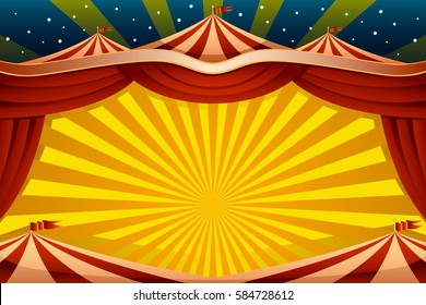 A vector illustration of a circus tent background