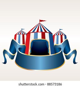 vector Illustration of a circus tent with blank red banner