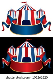 vector Illustration of a circus tent on black and white background
