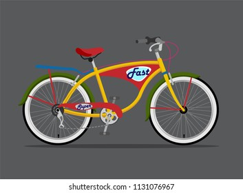 Vector illustration of city bicycle / Design element for T-Shirt design / Bike with pannier rack.