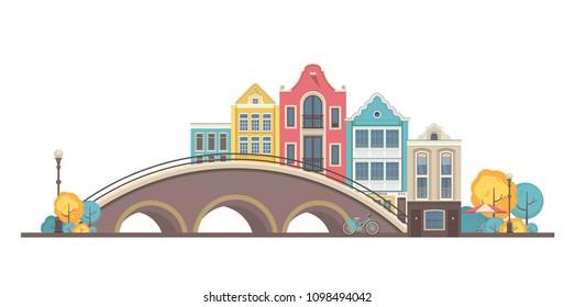 vector illustration city buildings street near bridge city amsterdam on white background