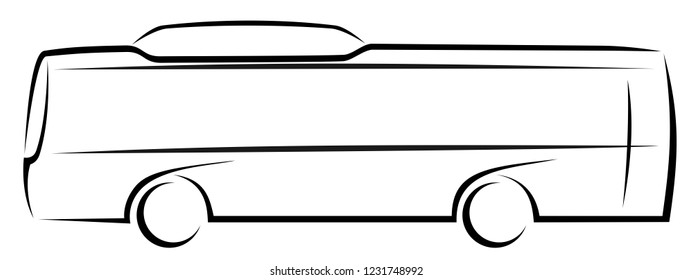 Vector illustration of a city bus running on an alternative fuel as CNG, electricity or hydrogen with two axles