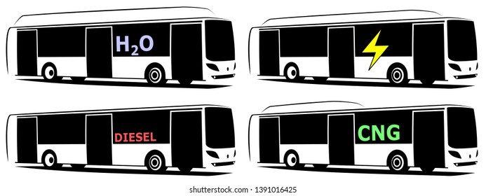 Vector illustration of a city buses with three doors. They use some sort of alternative fuel as CNG, electricity or hydrogen