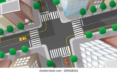 Vector illustration of city crossroad viewed from above in cartoon style.