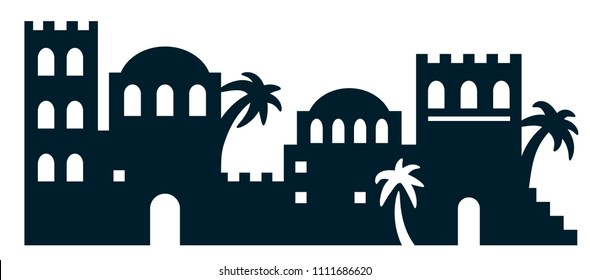 Vector illustration of city in the desert, bethlehem, biblical city. Laser cutting template. Cutout black and white art. Die cut silhouette. Picture suitable for engraving, cutting wood, metal, paper.
