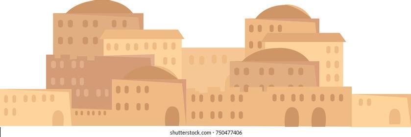 Vector illustration of a city in the desert, bethlehem, biblical city
