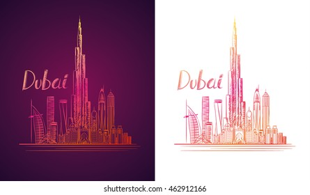 vector illustration of the city of Dubai in the United Arab Emirates, the symbols of the city skyscrapers hotels, stylish graphics