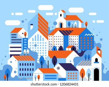 Vector illustration of city landscape. Flat geometric style. Buildings, houses, trees and abstract elements.