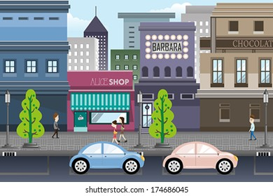 A vector illustration of city life