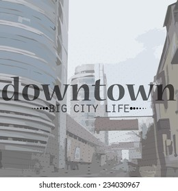 Vector illustration of City Life in Perspective and text . Vector banner for business with the city