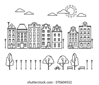 Vector illustration - City in linear style with trees, clouds, sun, bike. Amsterdam
