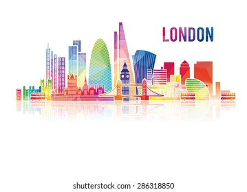vector illustration of the city of London in the UK, the symbols of the city skyscrapers hotels, stylish graphics