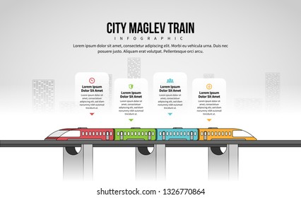 Vector illustration of City Maglev Train Infographic design element.