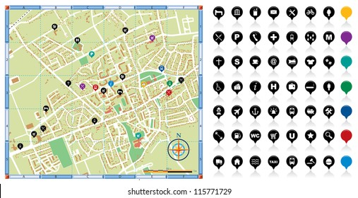 Vector illustration of a city map with points of interest.
