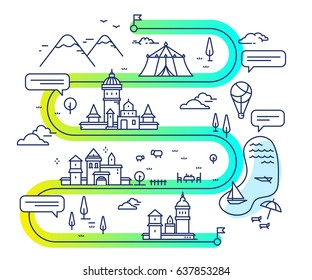 Vector illustration of city navigation with air balloon and clouds. Infographic route concept. Road map with buildings and countryside lake, mountain, circus tent, church. Thin line art design for web