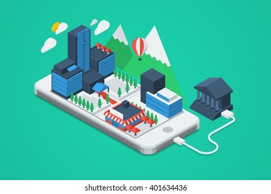 vector illustration with city on phone