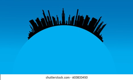 Vector illustration of the city on a white background.
