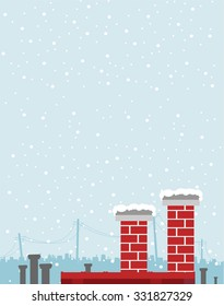 Vector illustration of city panorama in winter. Top of the roofs and chimneys on the bottom of the image with big copy space on the top.  Snow falling in the background.