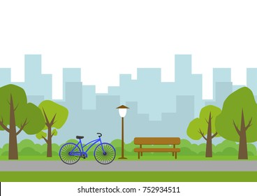 Vector illustration of city park.