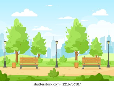 Vector illustration of city park with trees, bush, bench, trash can, lantern, walkway, hills and city skyline. Beautiful urban green park for banner, poster. Cartoon city park and town in flat style.