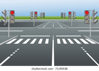 Vector illustration of city roads with traffic lights